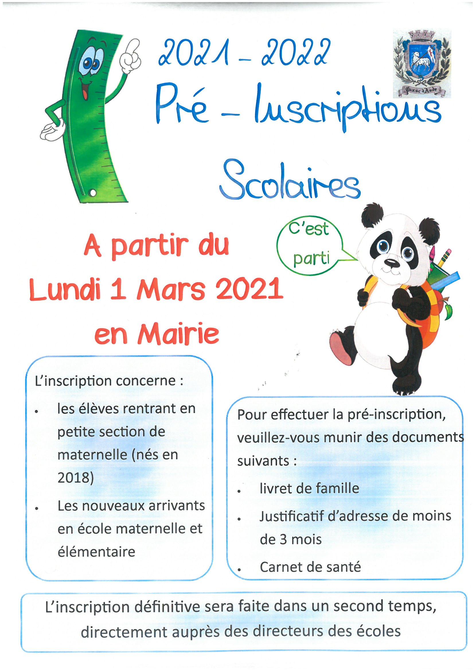 Inscription scolaire 2021/2021